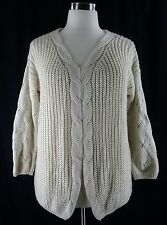 Altar'd State Sweater M L ivory cream cable knit boxy oversize slouch comfy