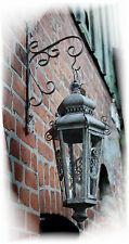 LATERNE XL WandLaterne + Wandhaken grau Metall Garten-deko Shabby Vintage Hänge