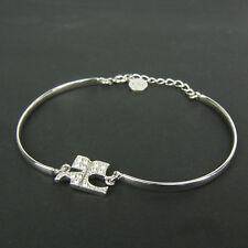 Auth Courreges Logos Rhinestone Bracelet Bangle F/S 3364