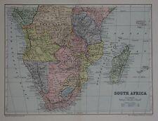 Original 1895 Map SOUTH AFRICA Cape Colony French Congo Natal Madagascar Zambesi