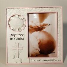 "Roman Inc - 7.25"" Girls Baptism Frame 4x6 white/pink - Matt 28:20 - Open Box"