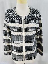 Talbots Womens Cardigan Full Zip Black Ivory Long Sleeves Cotton Blend Large Pet