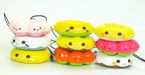 Cute Phone Food Charm Strap Yellow Pink Blue Bird Donuts 1pc Random