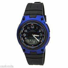 Casio AW80-2B Mens Black Blue 30-Page Data Bank Analog Digital Watch 50M NEW