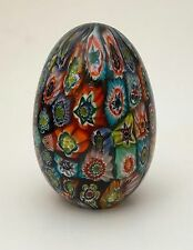 Italian Venetian Murano Art Glass Millefiori Decorative Egg Paperweight