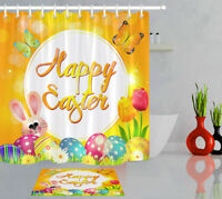 Happy Easter Rabbit Fabric Shower Curtain Set Bathroom Accessory Colorful Eggs