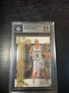 2003-04 UD ROOKIE EXCLUSIVES SUPERSTAR GOLD Tony Parker 74/100 BGS 8.5 NM-MT+