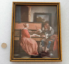 """Framed print of Dutch painting Gabriel Metsu The Music Lesson picture 8"""" x 6.5"""""""
