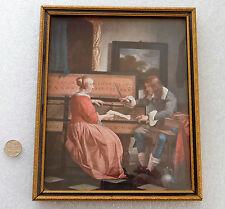 """Stampa incorniciata DELLA PITTURA OLANDESE GABRIEL METSU la lezione di musica foto 8"""" x 6.5"""""""