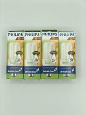 X4 Philips Energy Saver Lights Bulbs 60 Watt Genie WW 827 220-240v 600 Lumen