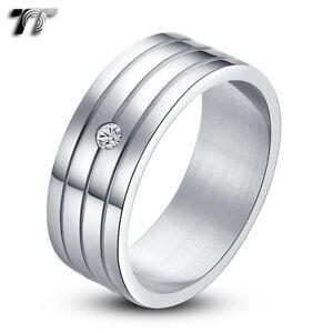 TT 8mm Eternity CZ Stainless Steel Triple Groove Wedding  Band Ring (R18)