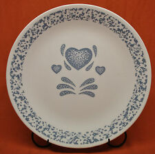 "Corelle By Corning Coupe Dinner Plate 10-1/4""  Blue Hearts Pattern"