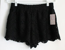 Free People Scalloped Lace Short Soft Black sz Small NWT