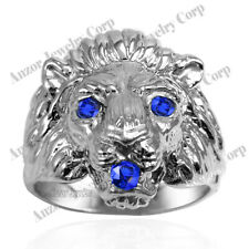 Heavy Men's Ring 14k Solid White Gold Genuine Sapphire Lion Ring #R2044