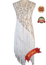 20s Vintage Flapper Fringe Gatsby Charleston Tassel Dress Moulin Rouge Costume