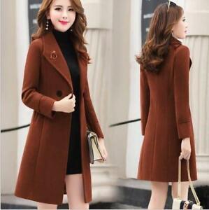 New Fall/ Winter Women Woolen Trench Coats Casual Warm Wool Jacket Long Outwear