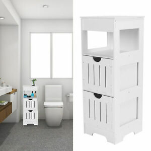 2 Drawers Bathroom Cabinet Free Standing Storage Unit Floor Cupboard White