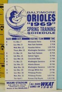 1969 Baltimore Orioles Spring Training Baseball Schedule Miami Stadium Regal Bee