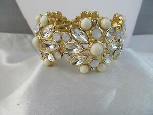 NWT MONET GOLD with WHITE STONE & CRYSTALS WIDE CHUNKY STRETCH BRACELET, Bridal