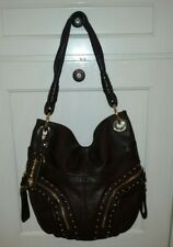 B Makowsky Brown Leather Bag Gold Studs and Zipper Details with Dust Bag