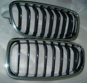BMW OEM F30 F31 3 Series Sedan Sport-Line Chrome With Black Kidney Grille Pair