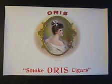 Original Old Antique - ORIS - CIGAR BOX Inner LABEL - Smoke Oris Cigars - LADY