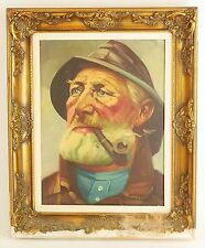 ORIGINAL PORTRAIT OF OLD FISHERMAN  Framed Oil on canvas Signed UNIQUE ART DECOR