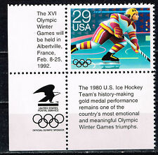 US Famous Hockey Team XVl Olympic stamp and labels 1992 MNH