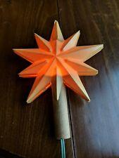 "Vintage Christmas Large 7"" Lighted Tree Topper Star Hard Plastic"