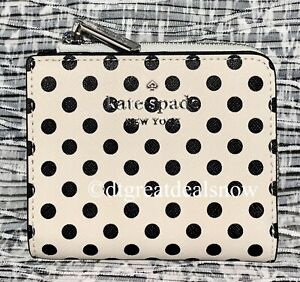 NEW Kate Spade Staci Picture Dot Small L-Zip Bifold Wallet White Multi