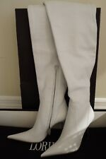 Loriblu Thigh High Overknee White  Leather Boots EU 35/US 5 Italian Womens Shoes
