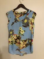Daniel Rainn Womens Size XS Blue Floral Print Sleeveless Tunic Top