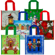 6pk Small Holiday Gift Tote Bags Reusable For Christmas Presents Cookies Candy