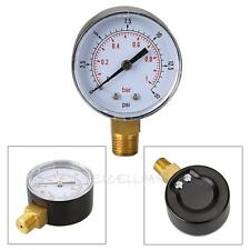 Low Pressure Gauge for Fuel Air Gas Oil Water 50mm 0/15 PSI 0/1 Bar 1/4 BSPT