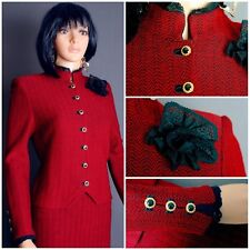 STUNNING ST.JOHN TWEED KNIT 2PCSUIT,JACKET SKIRT,RED/BLK,LACE FLOWER PIN6 8,CHIC