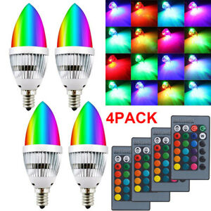 1/2/4/6* RGB LED Bulb E12 E14 3W 16Colors Changing Remote Control Home Party Dec