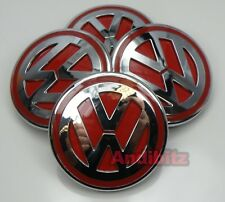 RANGE ROVER SPORT VOGUE TO VW T5 ALLOY WHEEL RED & CHROME BADGE CENTRE CAP CAPS