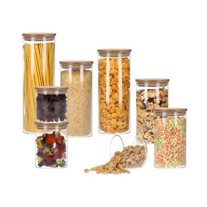 Vorratsglas mit Bambusdeckel, Vorratsdose, Pasta- Glas | 350 - 2200 ml