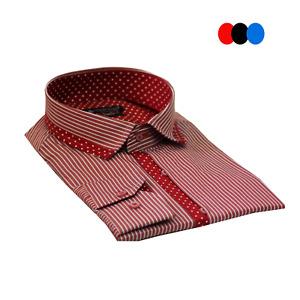 Men's Collar & Button line Polka dots detailed Striped Long Sleeve Cotton Shirt
