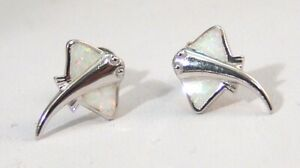 Sterling Silver Stingray Stud Earrings with Created Opal Inlay