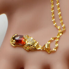 Lucky Red Jade Pixiu Pendant Necklace Chain Women Solid 24K Yellow gold Filled