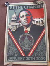 Shepard Fairey BE THE CHANGE Obama Inauguration signed numbered print Obey Giant