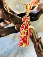 Red holy death Pendant & Necklace gold filled Santa Muerte Rojo yCadena Laminado