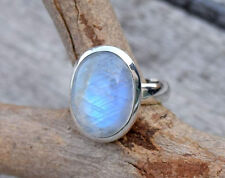 STERLING SILVER BIG NEPALI RAINBOW MOONSTONE SOLID SILVER RING SIZE 5 6 7 8 9 11