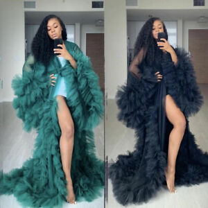 Ruffles Tulle Kimono Women Dress Robe Extra Puffy Prom Party Puffy Sleeve Gown