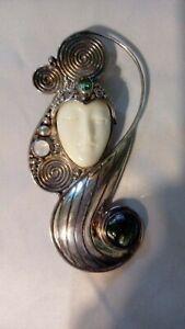 Sajen Sterling Silver Carved Moon Goddess Pendant pin brooch marked STUNNING !