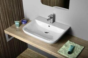 Waschschale Aufsatzwaschbecken oder Hänge-Waschtisch 60 70 90 x 48 cm DORI weiß