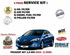 FOR PEUGEOT 407 1.6HDi 6/2004-02/2008 OIL AIR FUEL POLLEN FILTER SERVICE KIT