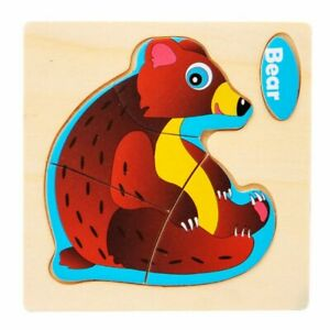Baby Wooden 3D Puzzle Toys Intelligence Educational Learning Toys children BEAR
