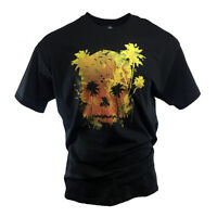 Men's Disney T-shirt Pirates of the Caribbean Palm Tree Skull 100% Cotton Sunset